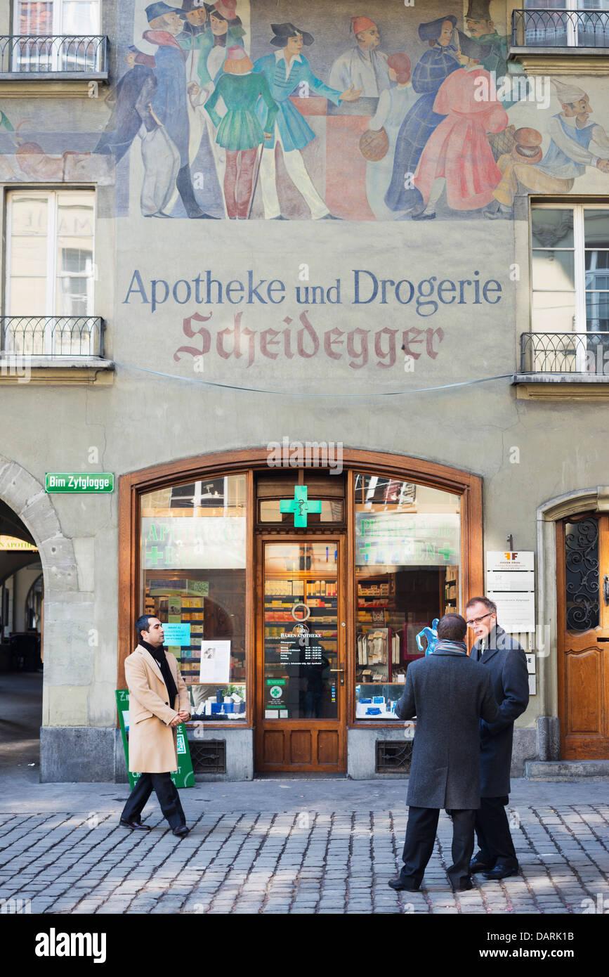 Europe, Switzerland, Bern, Swiss capital city, old Apotheke chemist shop - Stock Image