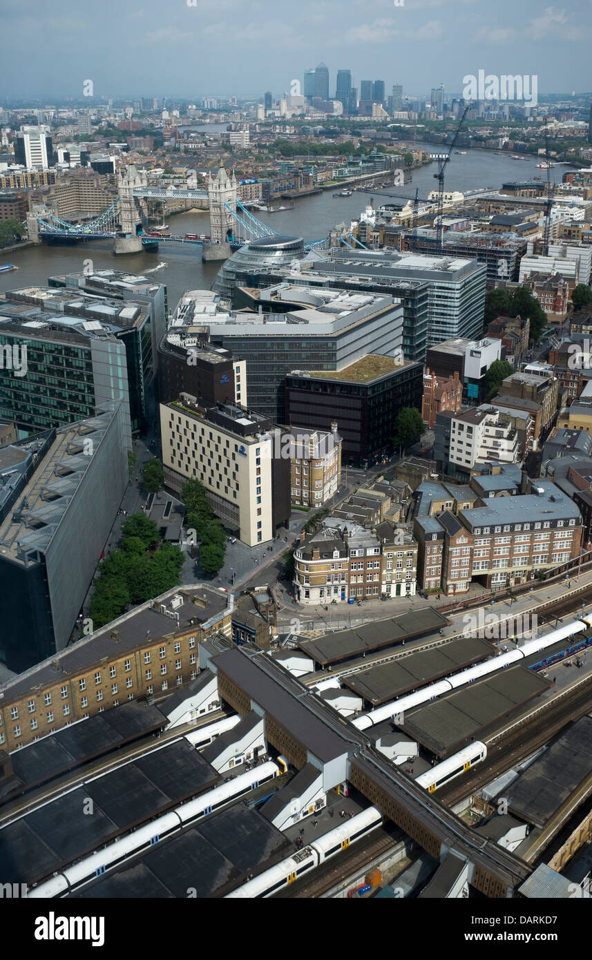 View east over train lines and River Thames from the Shard London - Stock Image