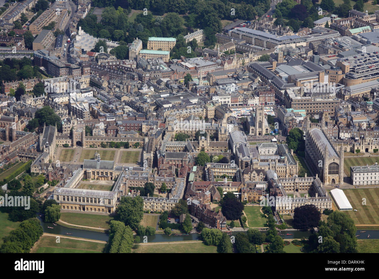Aerial View of Trinity, Trinity Hall, Clare Colleges, Cambridge - Stock Image