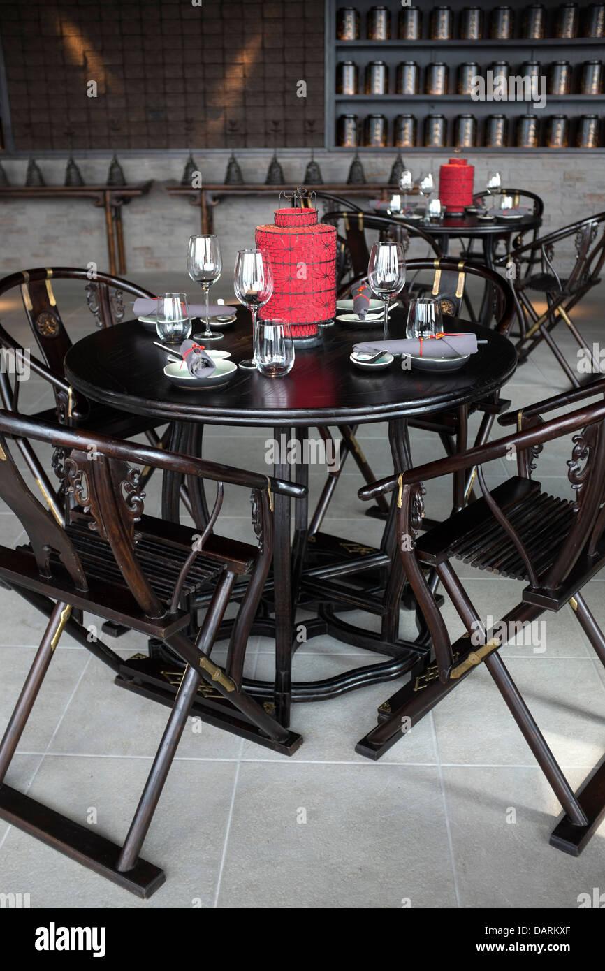 Chinese restaurant interior stock photos