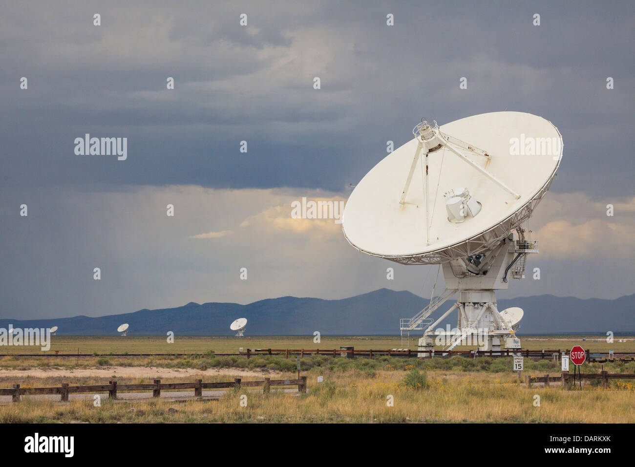 USA, New Mexico, Socorro, Very Large Array International Radio Telescope - Stock Image