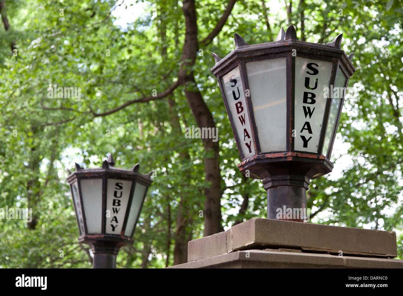 Subway signs at the entrance at Central Park in New York City - Stock Image