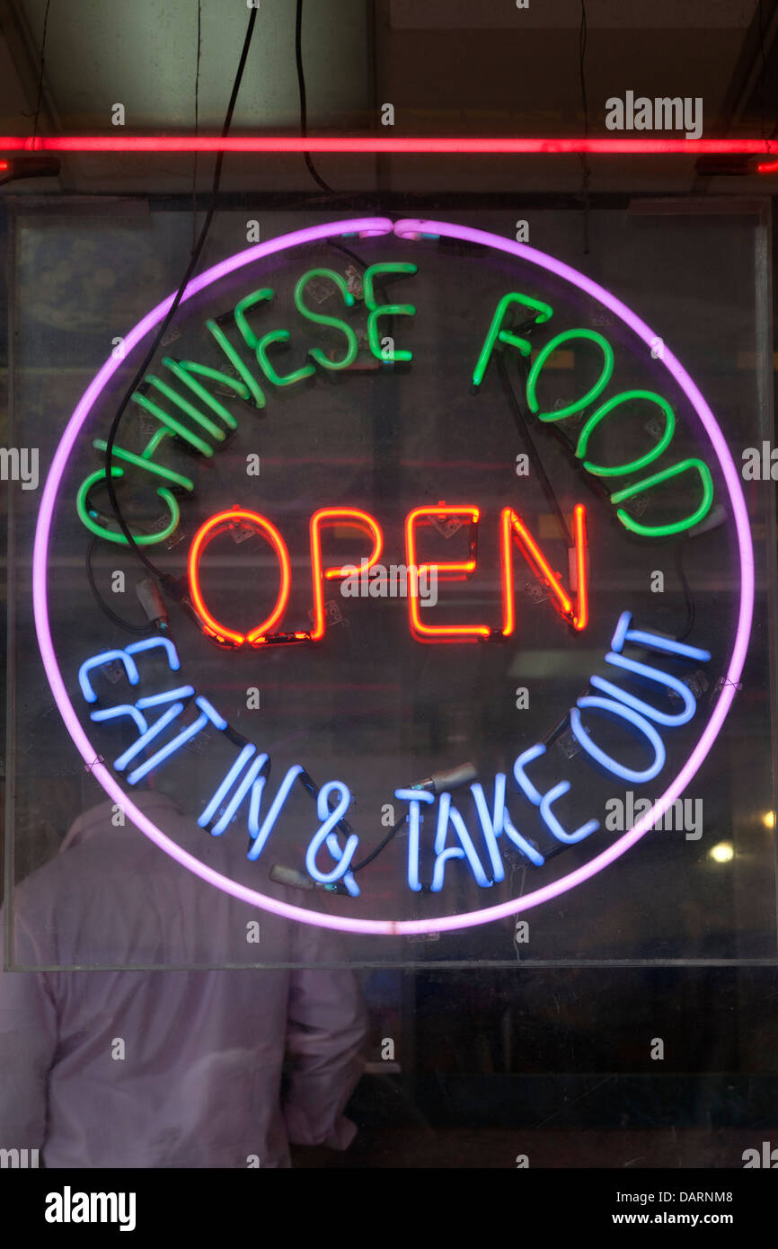 Chinese food neon sign in NYC - Stock Image