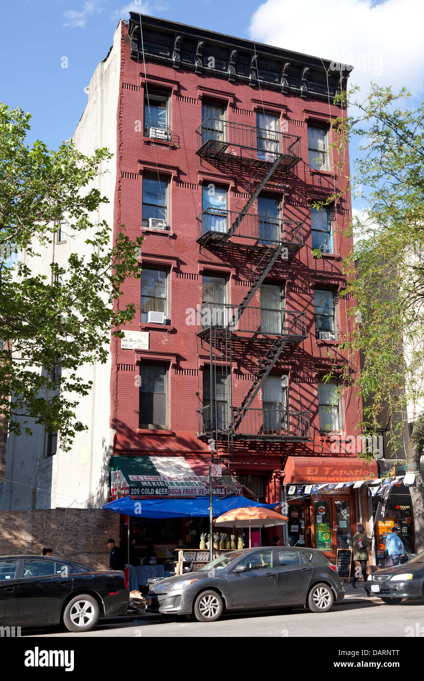 Apartment Building With Fire Escapes In New York City