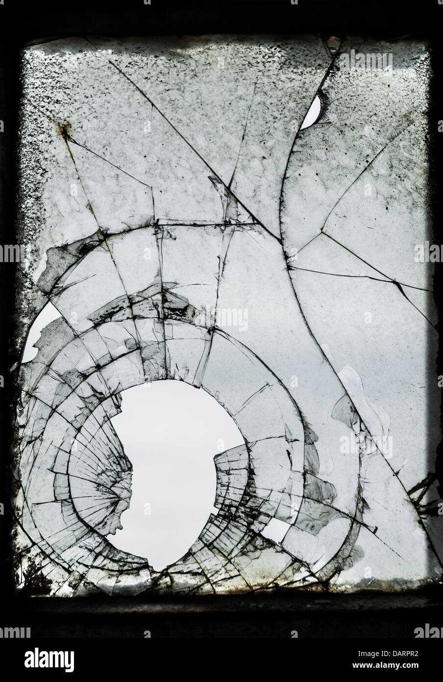Old, dirty broken glass background. - Stock Image