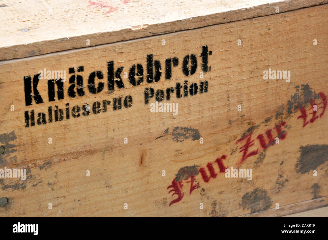 WW2 German wooden crate containing 'Crispbread; half portions'. War and Peace Revival, July 2013, Kent, - Stock Image