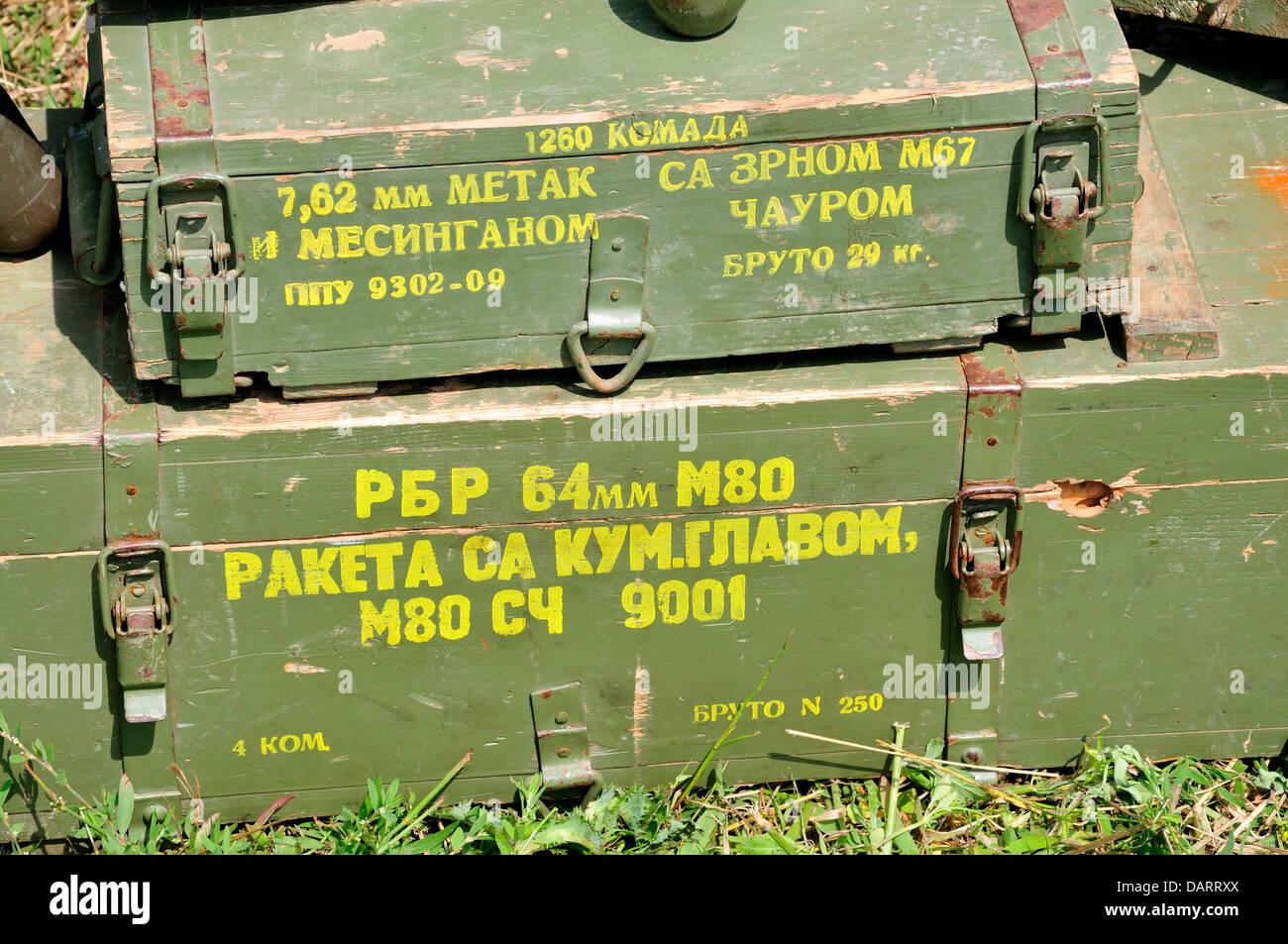 Yugoslav / Serbian ammunition cases. War and Peace Revival, July 2013. Folkestone Racecourse, Kent, England, UK. - Stock Image