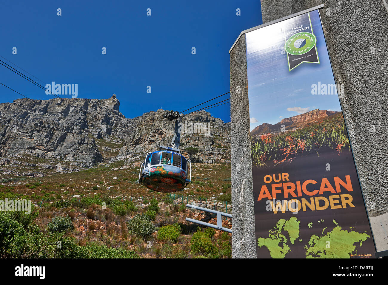 cable car to Table Mountain, Cape Town, Western Cape, South Africa - Stock Image