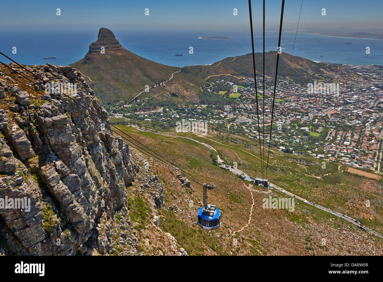 cable car to Table Mountain, view onto Cape Town with Lion Head, Western Cape, South Africa - Stock Image