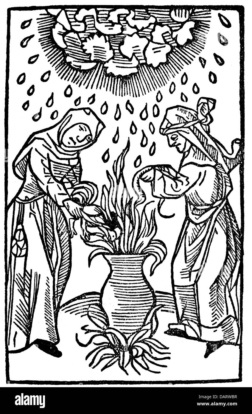 witches, weather witches making hail and storm, woodcut, 'Tractatus de lamiis et phitonicis mulieribus' - Stock Image