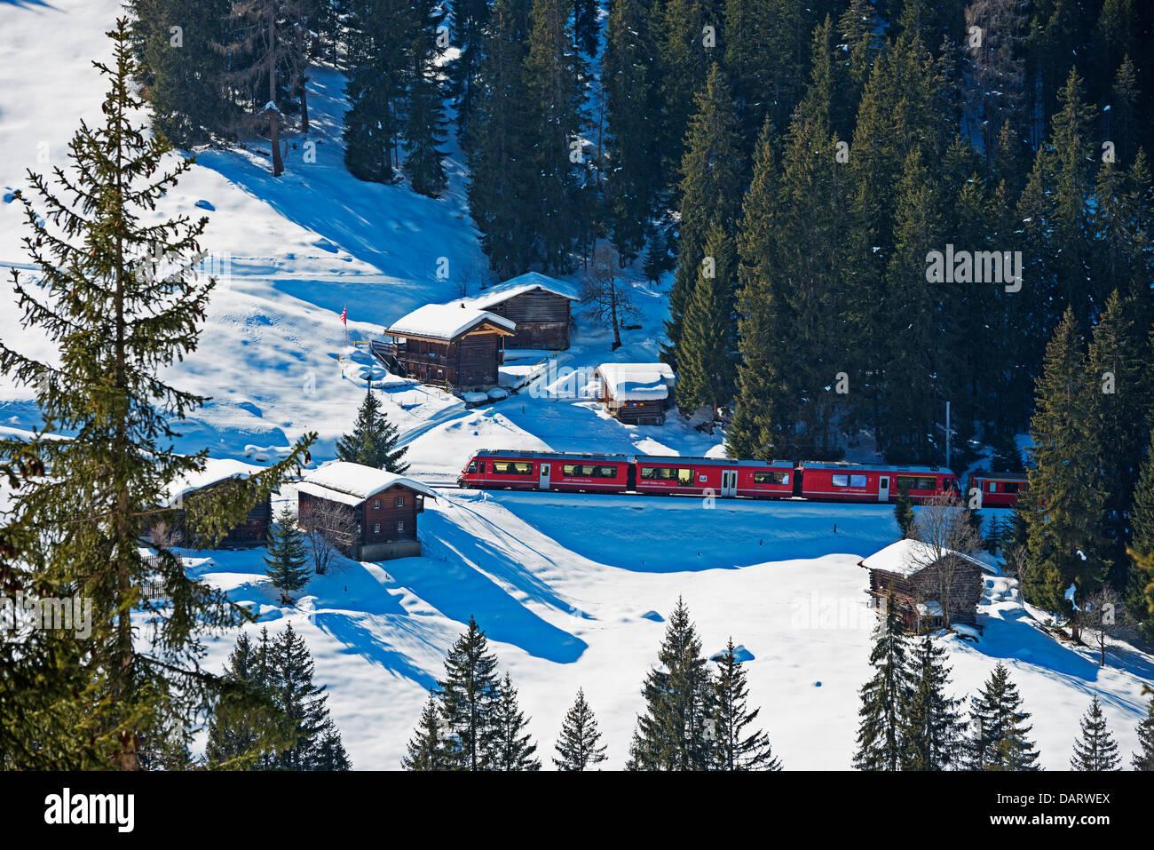 Europe, Switzerland, Graubunden, Arosa mountain resort, narrow gauge railway - Stock Image