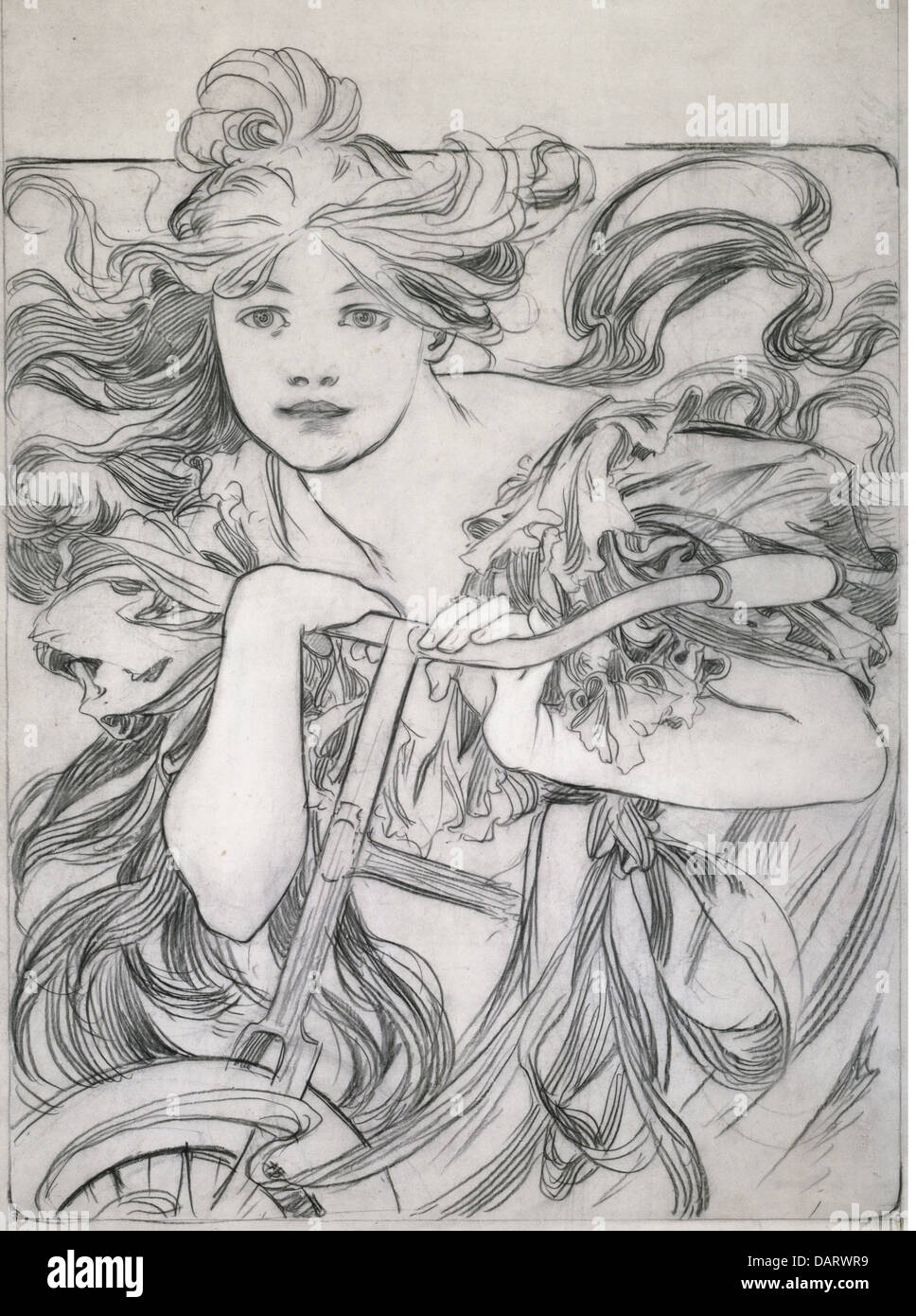 """fine arts, Mucha, Alfons (1860 - 1939), graphic, """"Cyclist"""", sketch, drawing, 1902, private collection,   bicycle, people, Stock Photo"""