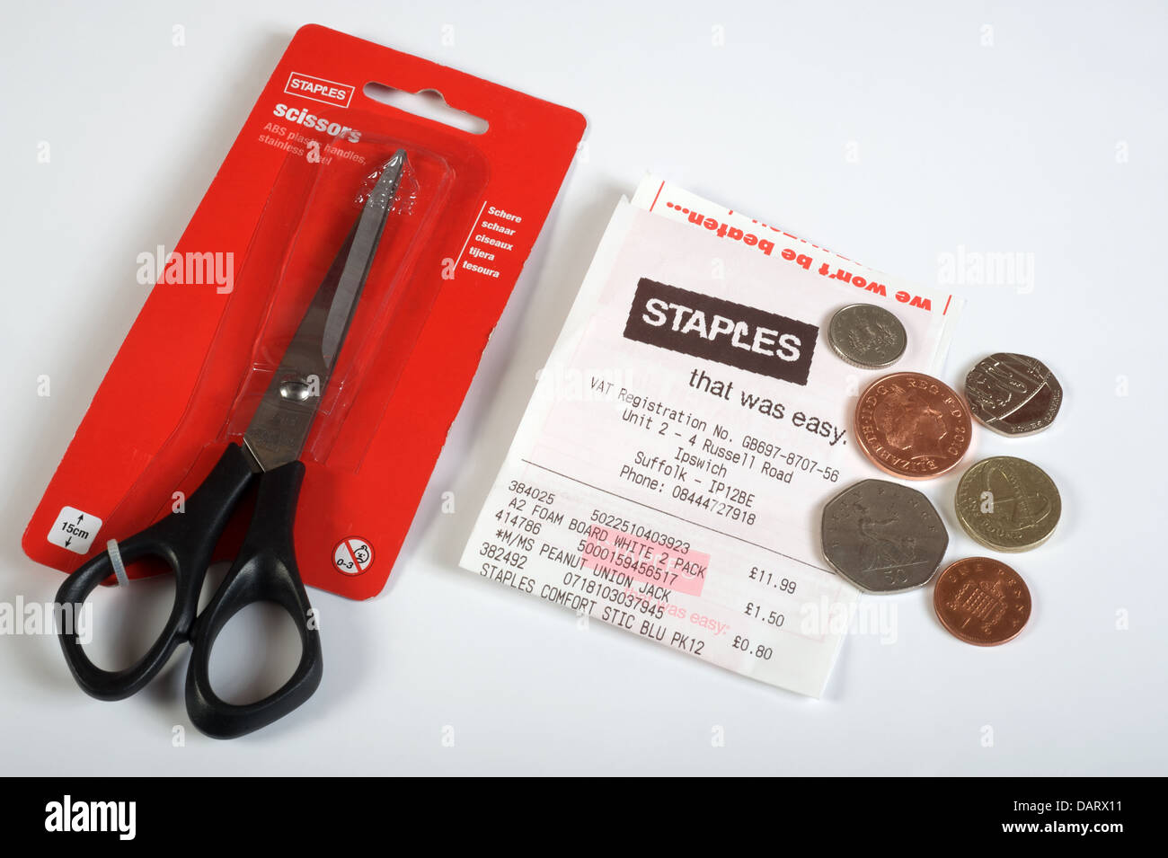 Staples scissors - Stock Image