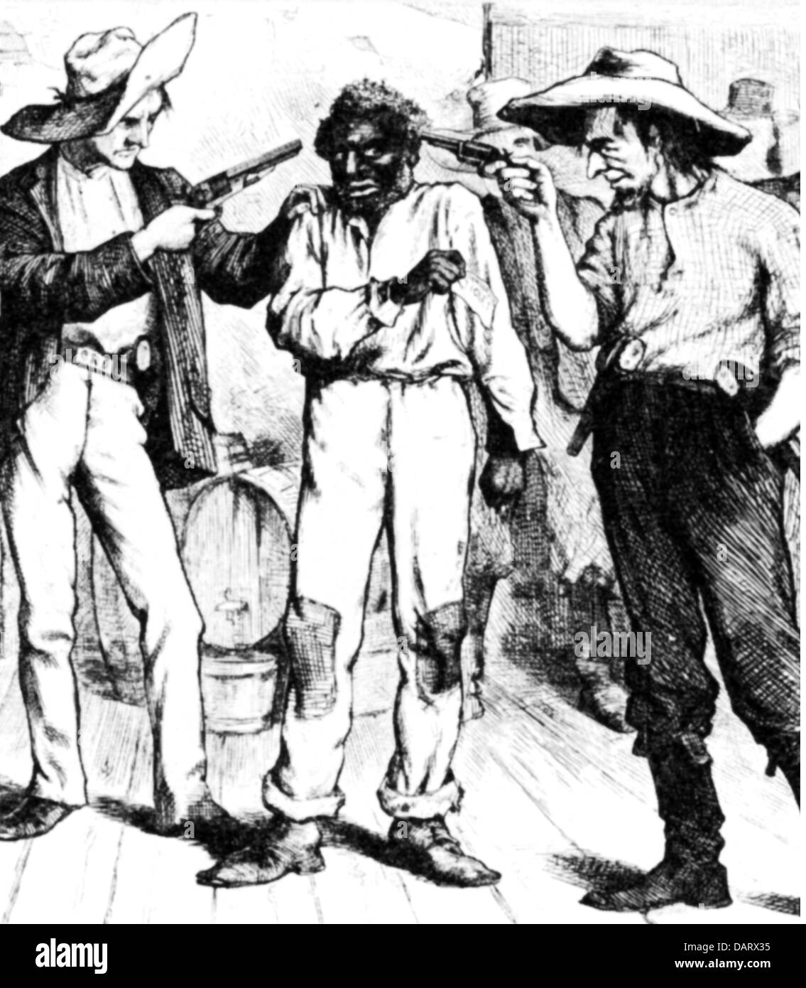 Reconstruction of the USA 1863 - 1877, caricature, southern democrats threaten a freed coloured slave, 'You're - Stock Image