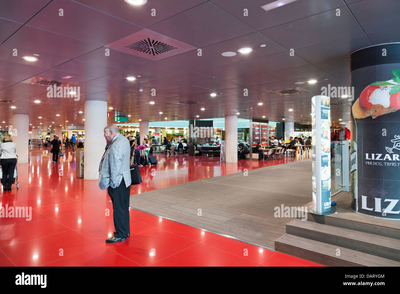 eating area at Barcelona Airport - Stock Image