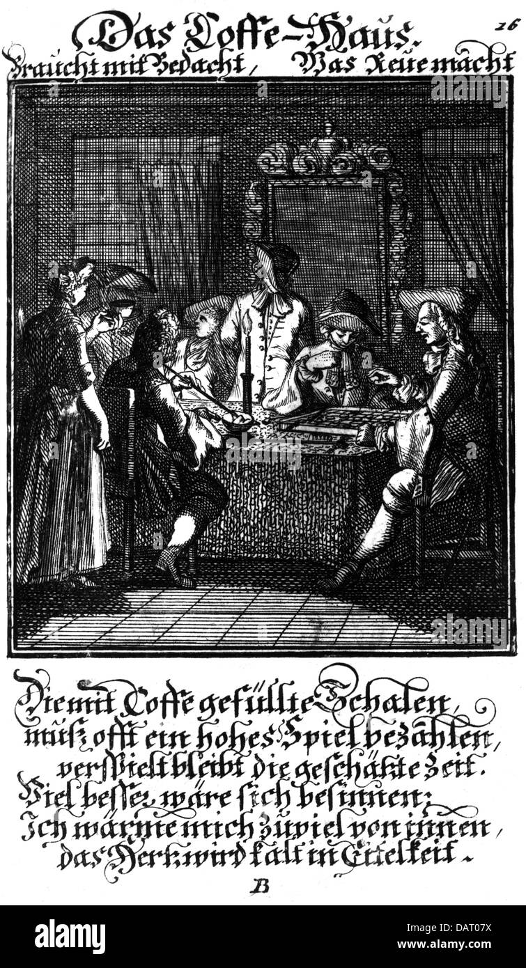 gastronomy, cafe / street cafe, coffeeehouse, from the book of classes, by Christoph Weigel the Elder (1654 - 1725), - Stock Image