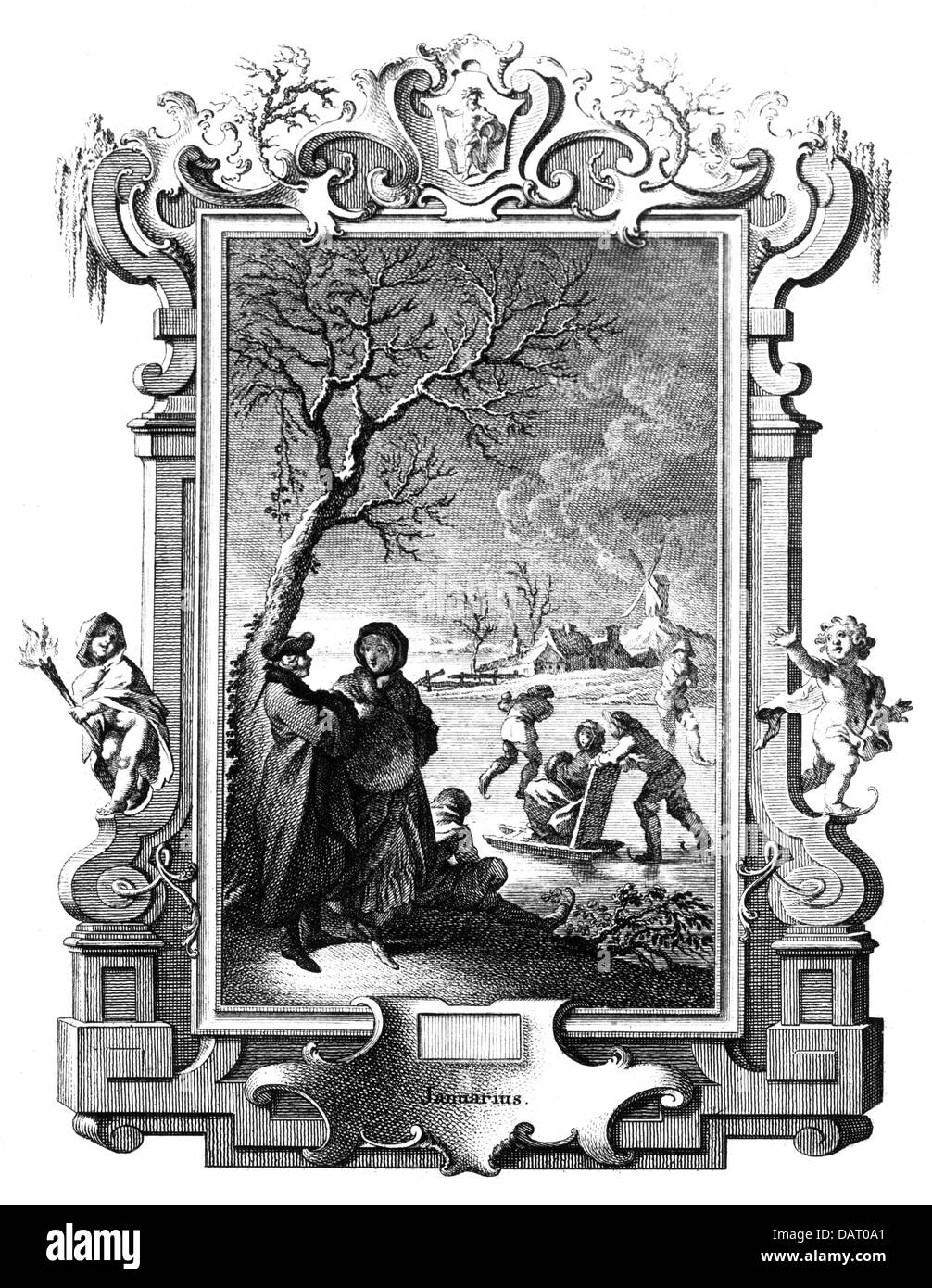 calendar, month image, January, copper engraving by Johannes Esaias Nilson, Augsburg, circa 1750, Artist's Copyright - Stock Image