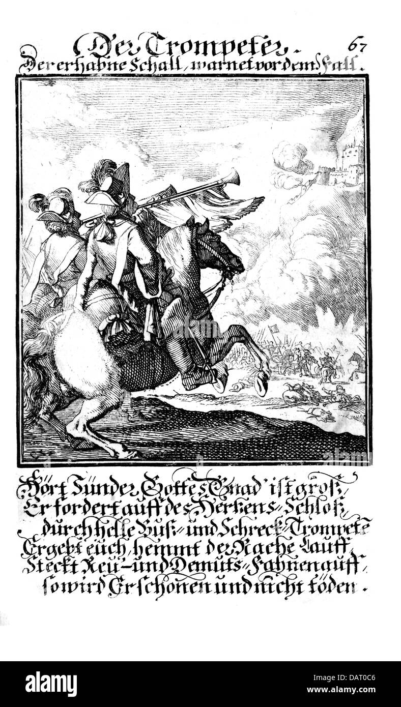 military, Germany, army, cavalry, trumpeter, copper engraving from 'Staendebuch' of Christoph Weigel, 1698, - Stock Image
