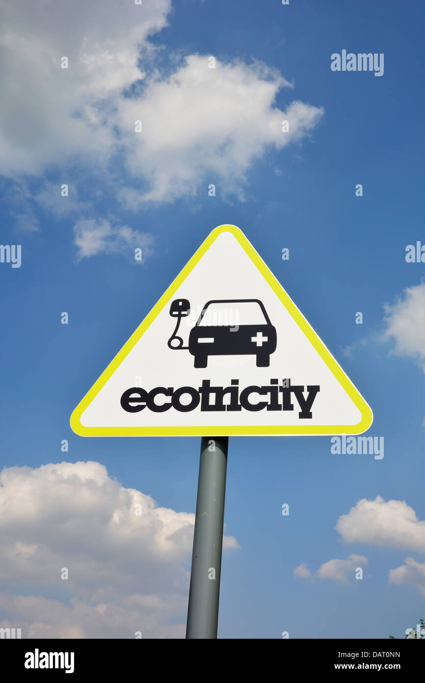 Sign at an electric car charging point in Yorkshire, UK, 18-07-2013. Photo by John Robertson. - Stock Image