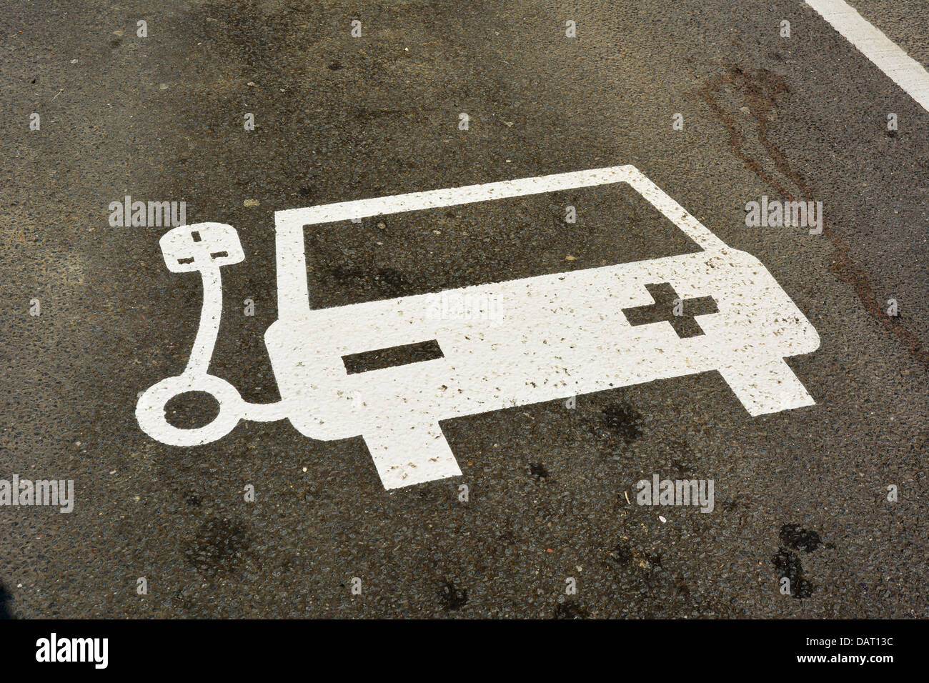 Sign at an electric car charging point in Yorkshire, UK, 18-07-2013. Photo by John Robertson. Stock Photo