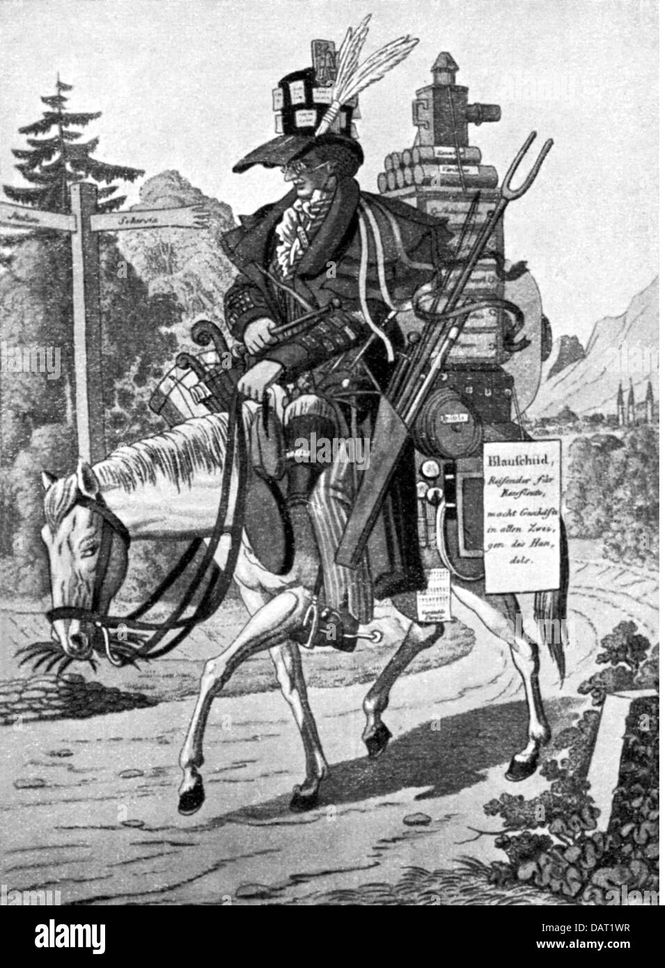 Rothschild, family, 'The sample rider - Blueshield and his wares', lithograph, Austria, 19th century, Additional - Stock Image