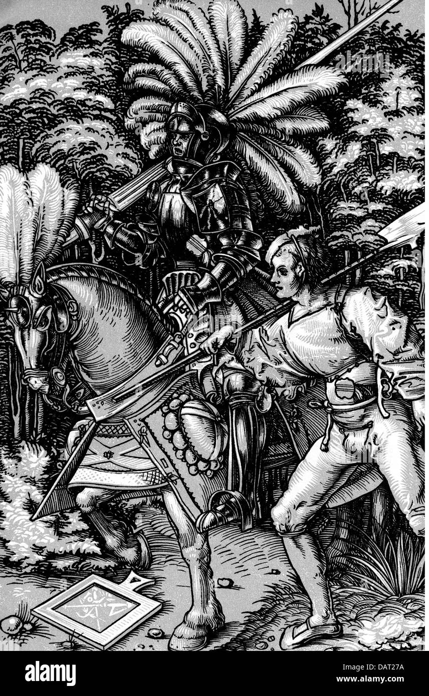 military, Middle Ages, Knight and Halberdier, woodcut by Johann (Hans) Wechtlin, circa 1510, Artist's Copyright - Stock Image