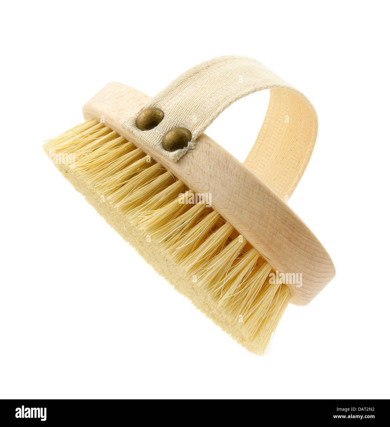 bath scrubbing brush cut out onto a white backgorund - Stock Image