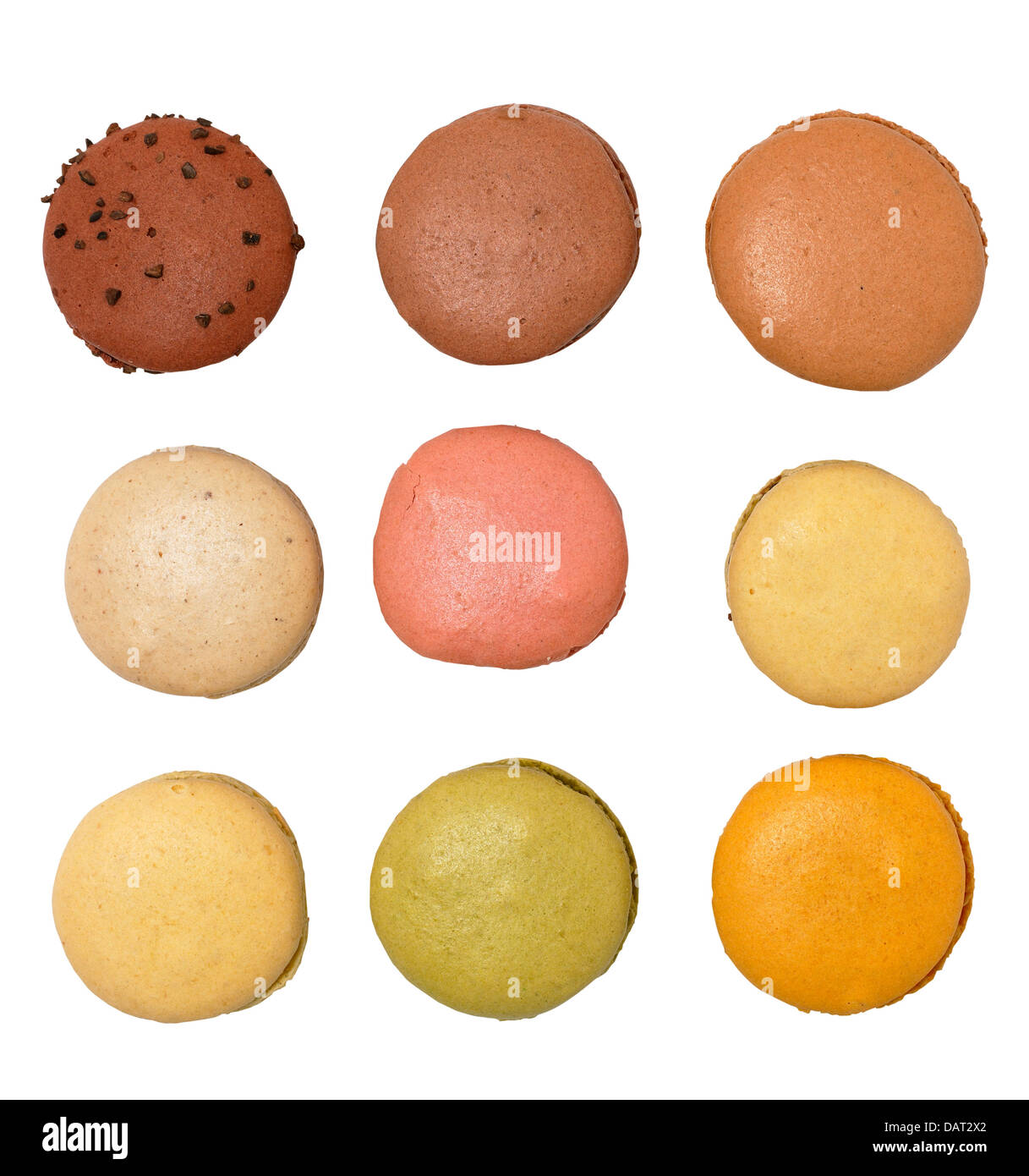 macaroons cut out onto a white background - Stock Image