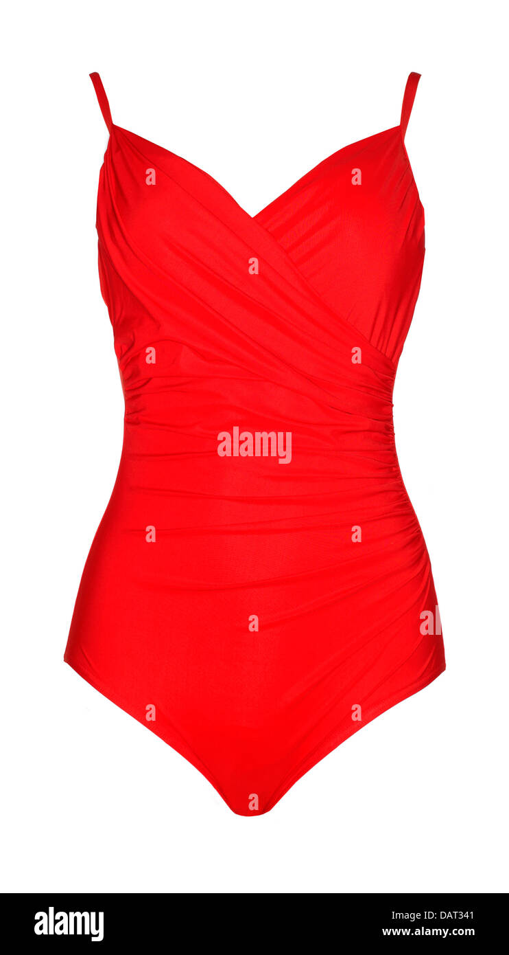 red swimming costume cut out onto a white background - Stock Image