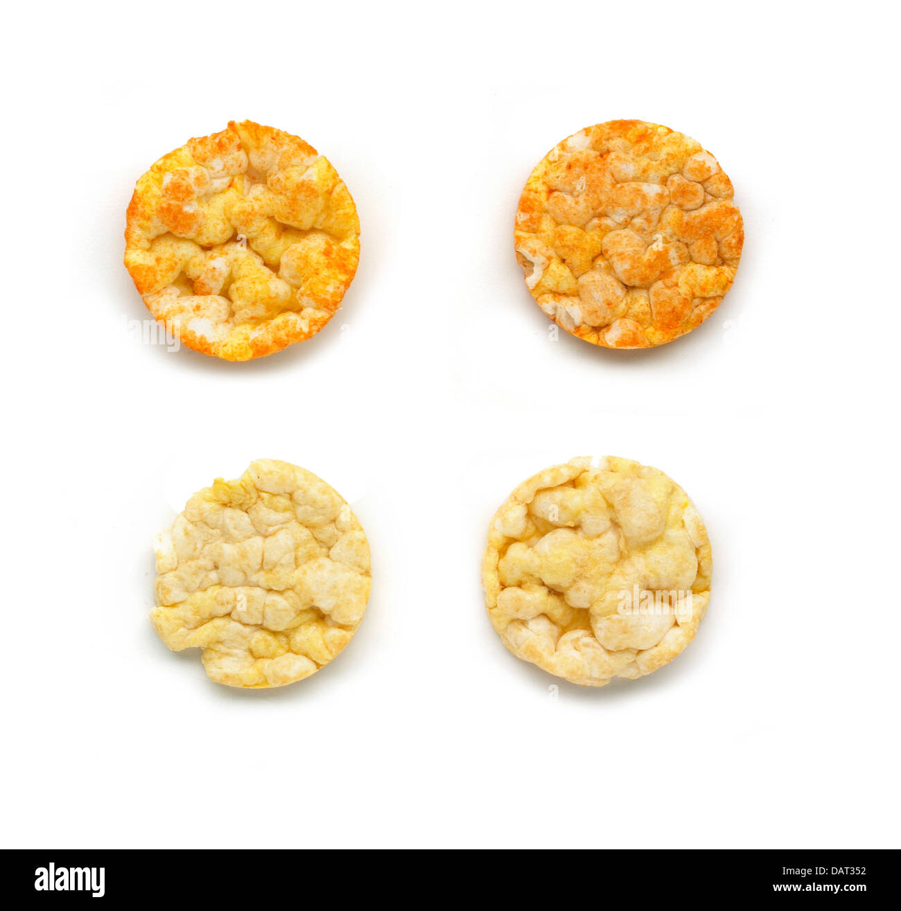 rice crackers cut out onto a white background - Stock Image