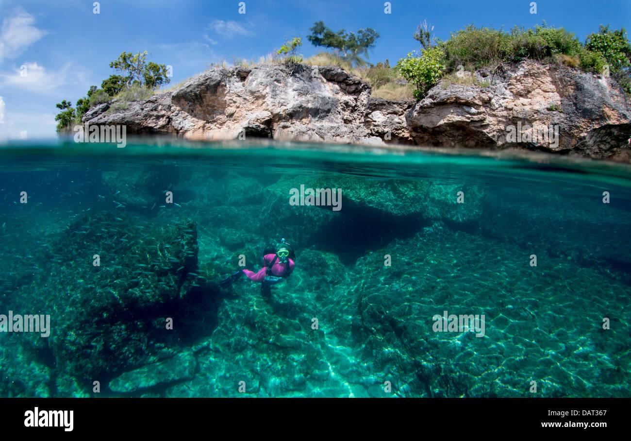 Split level view of blonde female diver exploring underwater alongside tropical island - Stock Image