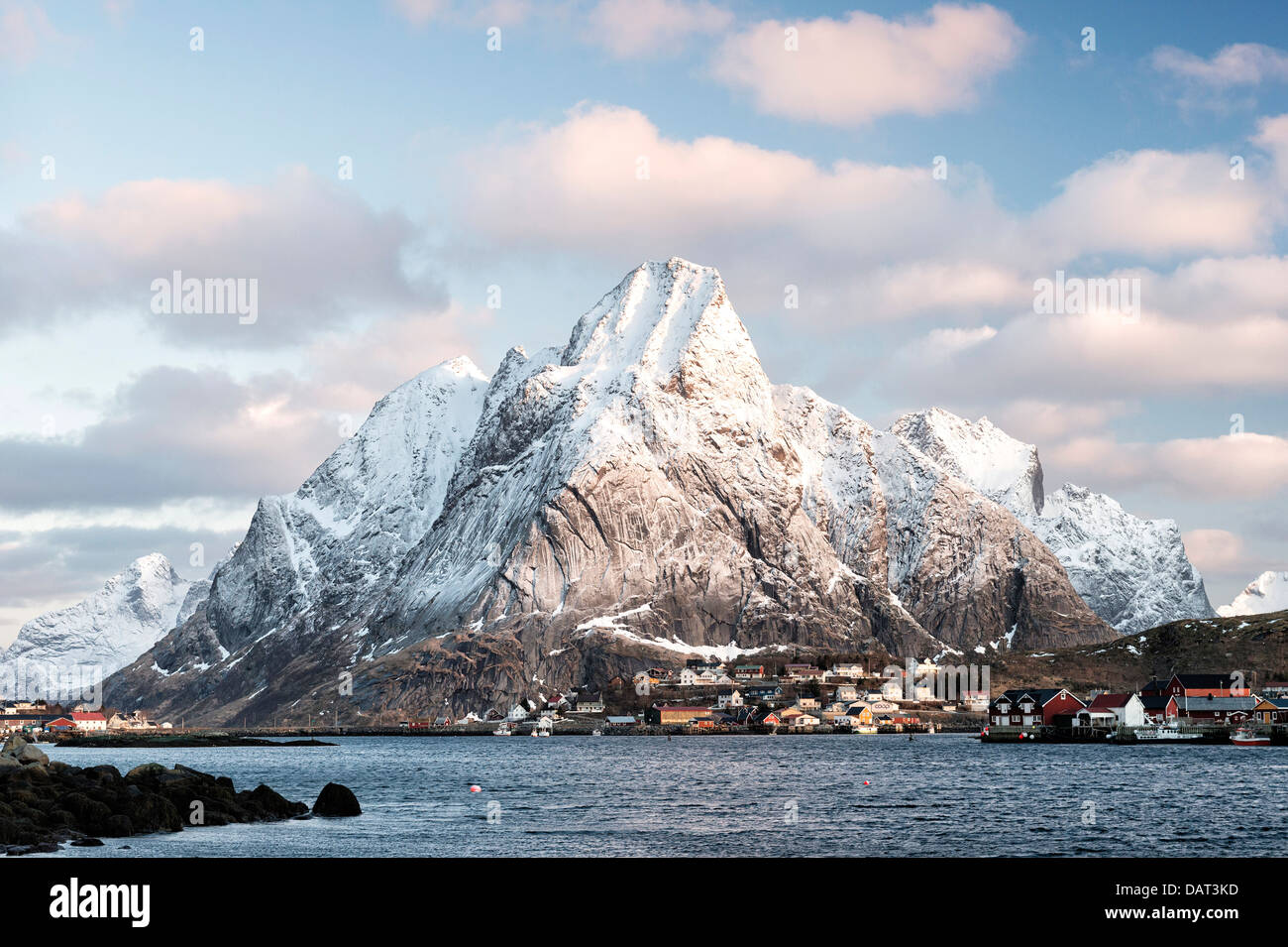 A view of Olstind and the village of Reine on the Lofoten Islands, Norway - Stock Image