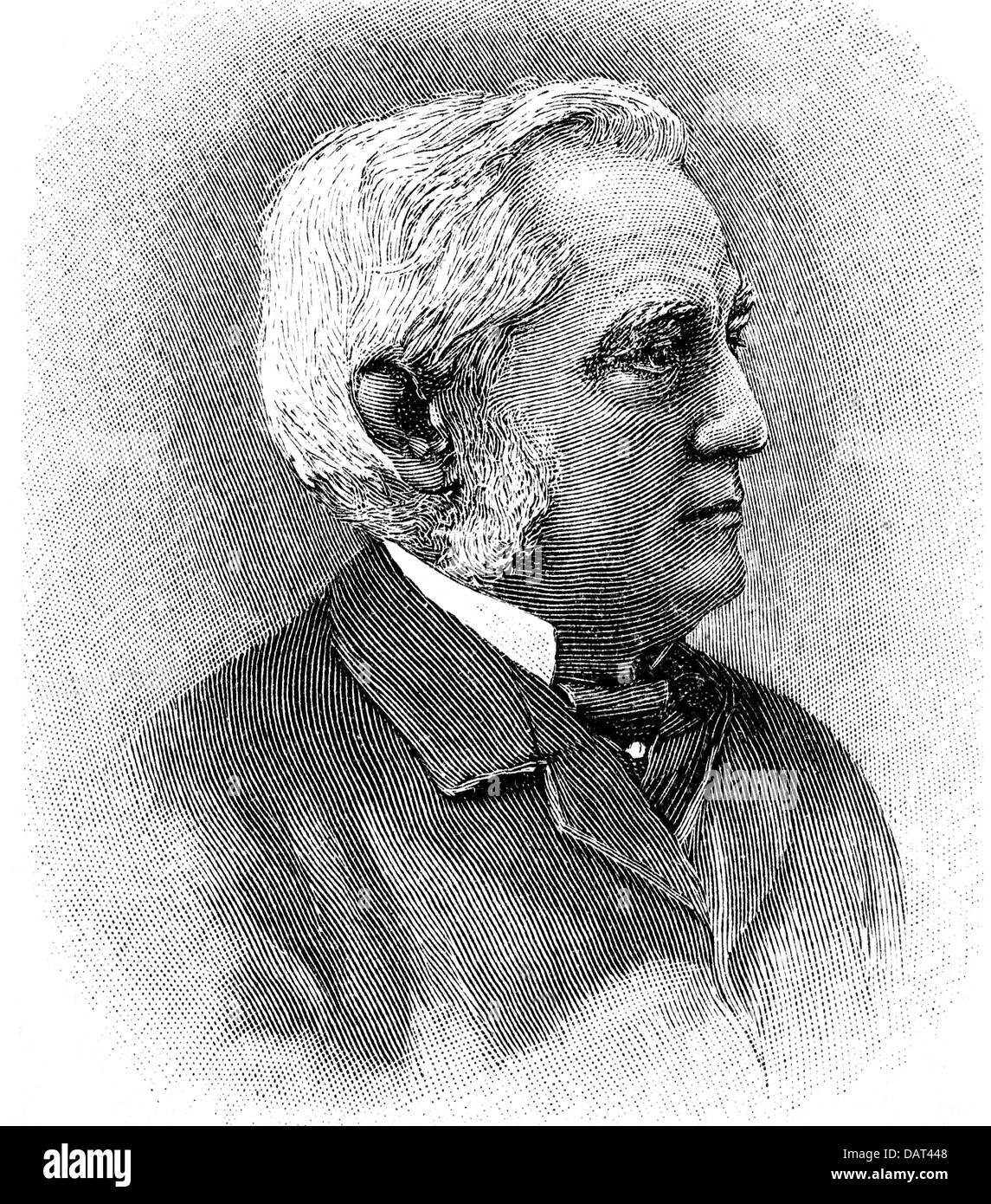 Mueller, Friedrich Max, 6.12.1823 - 28.10.1900, German indologist and religious scholar, portrait, wood engraving, - Stock Image