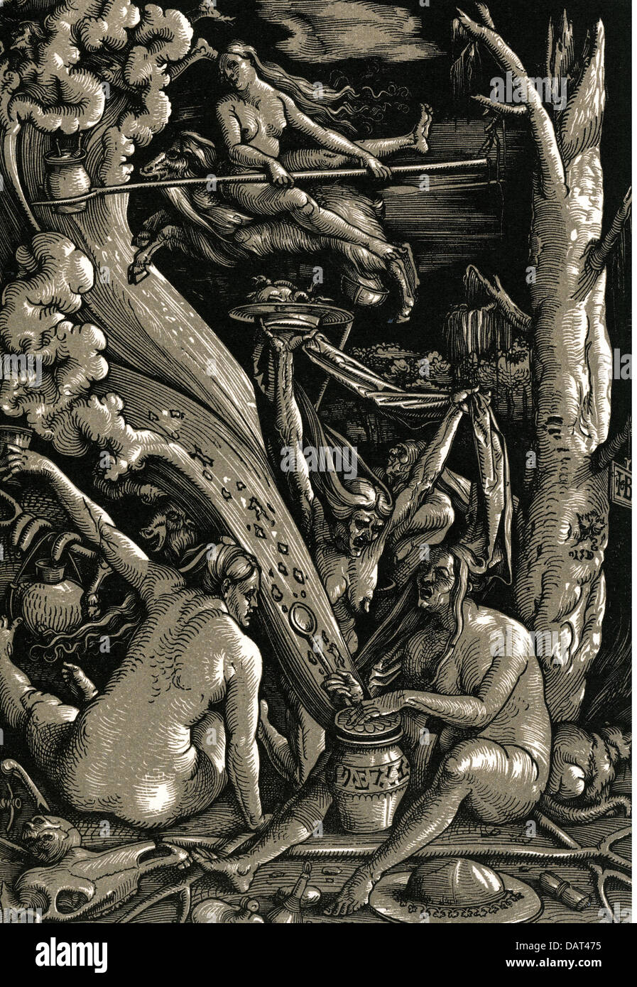 witches, witches sabbath, woodcut by Hans Baldung genannt Grien, 1510, Additional-Rights-Clearences-NA - Stock Image