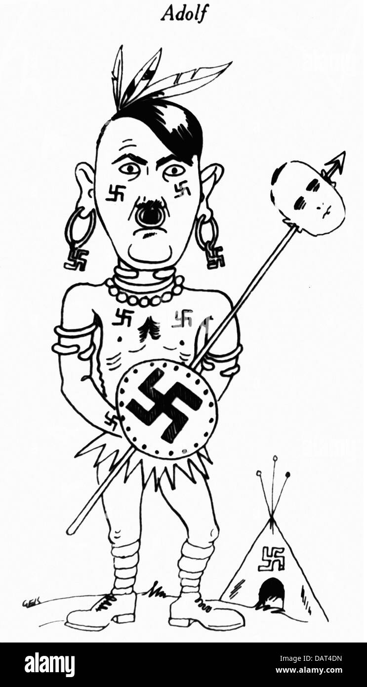 "Hitler, Adolf, 20.4.1889 - 30.4.1945, German politician (NSDAP), caricature, ""The Chief of the Tribe of wild Headhunters Stock Photo"