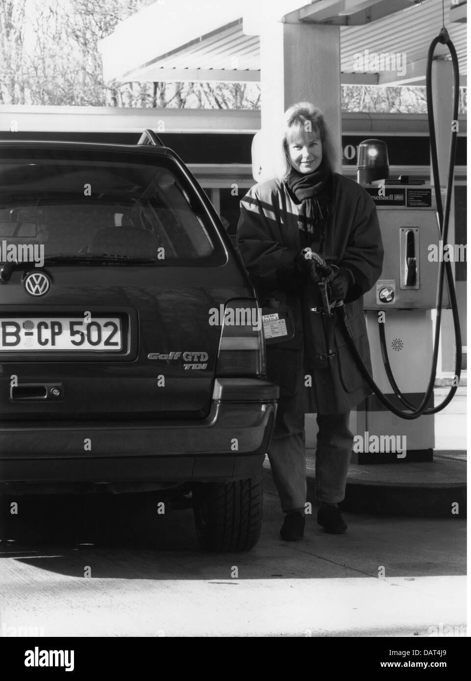 transport / transportation, car, vehicle variants, Volkswagen, VW Golf III GTD TDI at petrol station, 1990s, Additional Stock Photo
