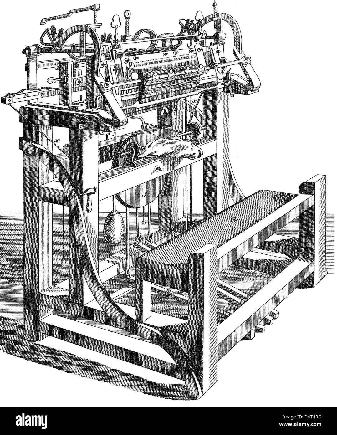 technics, spinning / weaving, stocking frame, after Langsdorf and Wassermann, wood engraving, 19th century, 19th - Stock Image