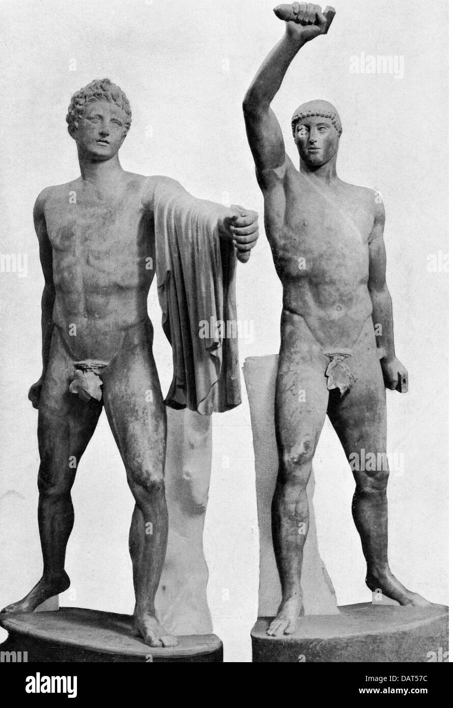 Harmodios and Aristogeiton, tyrannicides from Athens, killed the tyrant Hipparchus, statues, circa 480 BC, Ancient - Stock Image