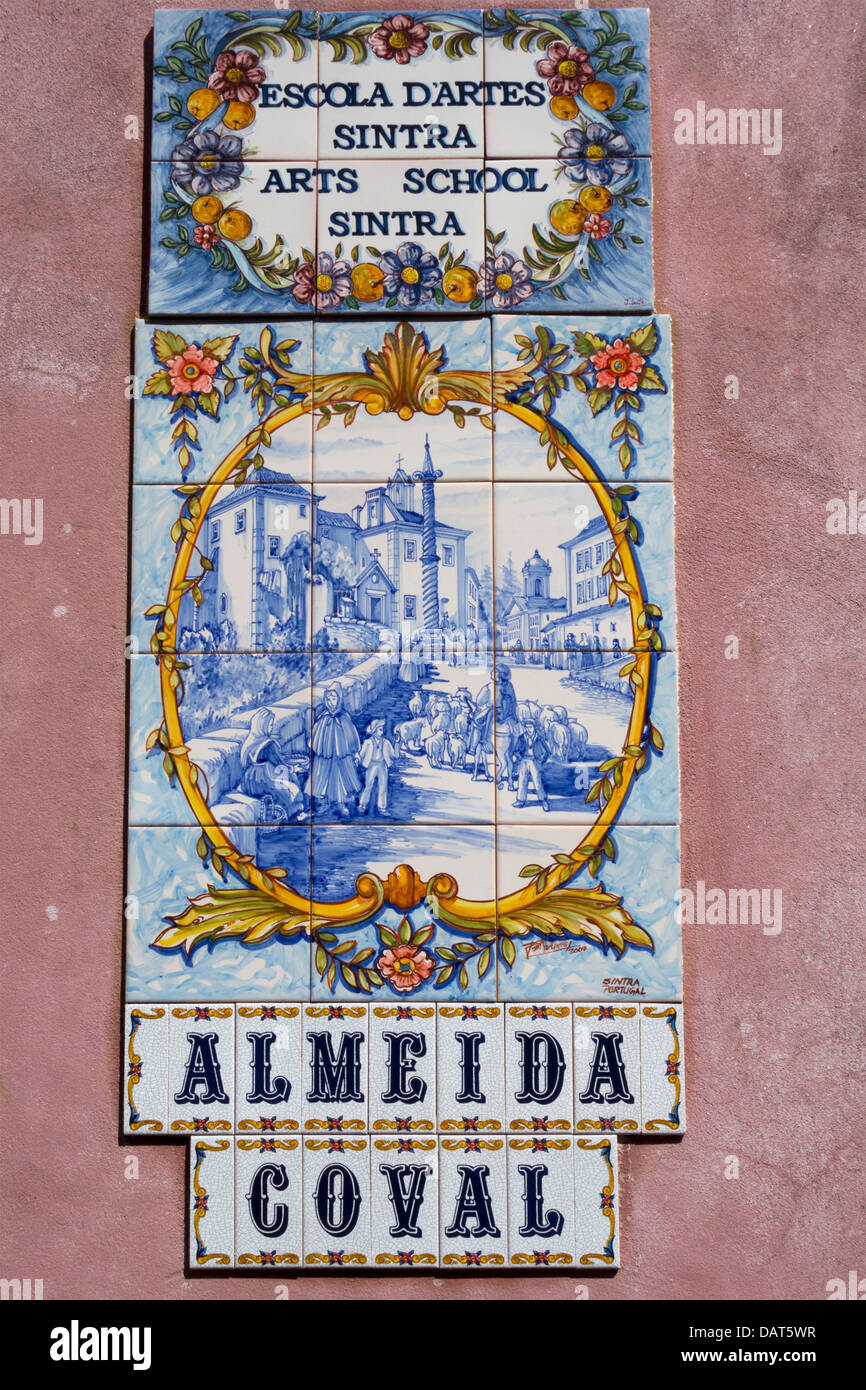 Almeida Coval art school painted tiles - azulejos - Stock Image