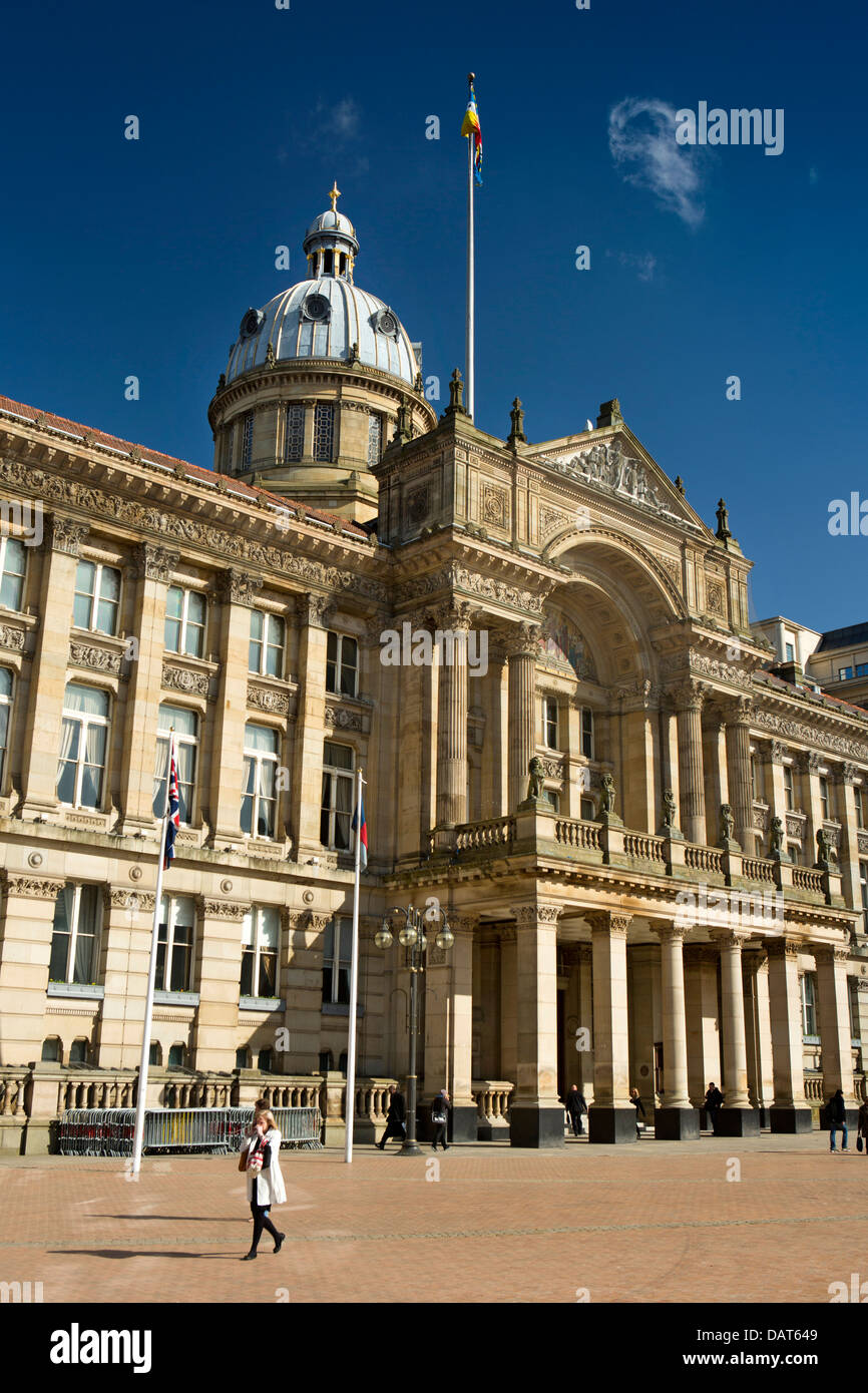 UK, England, Birmingham, Victoria Square, The Council House, flying the city's flag - Stock Image