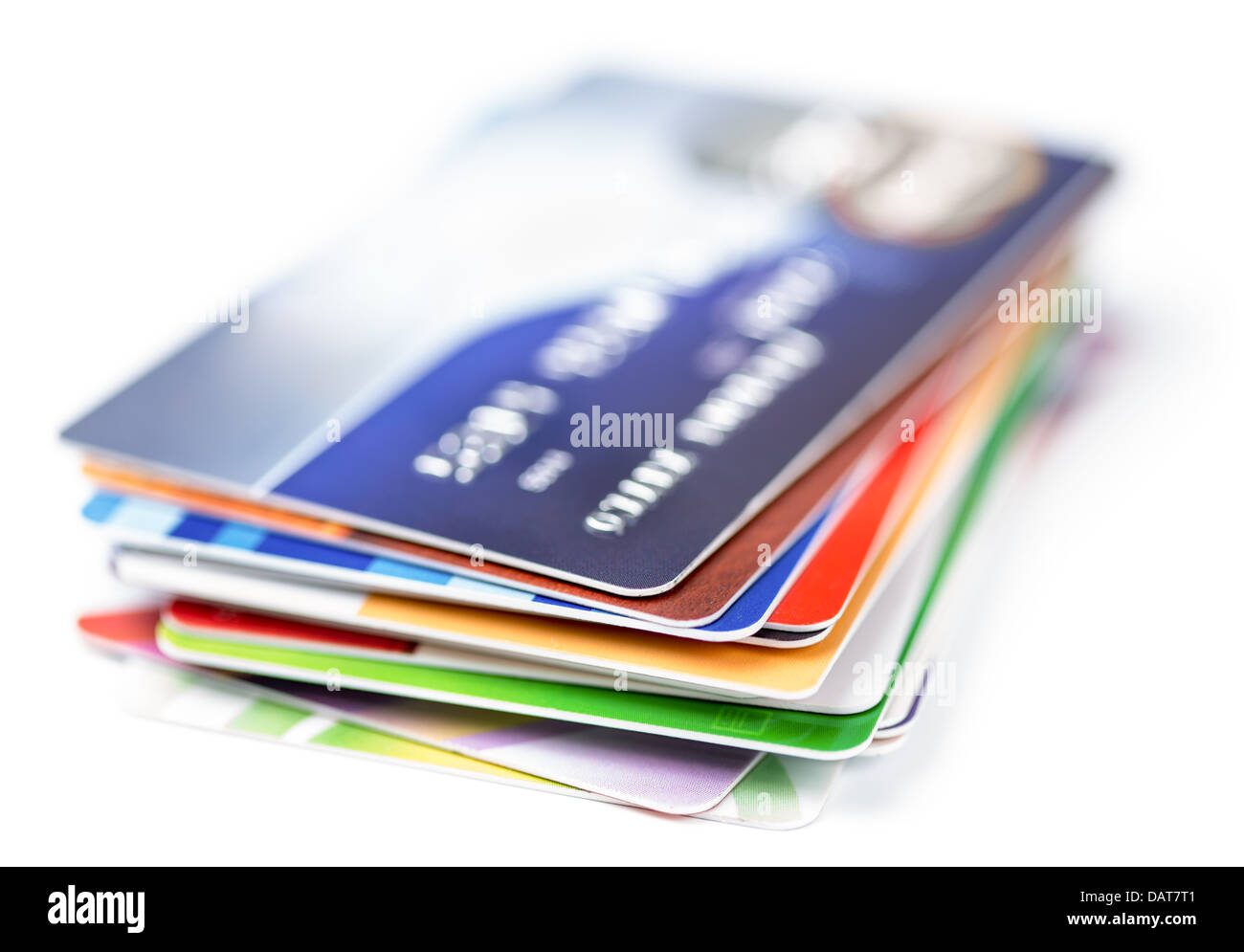 credit cards stack on white - Stock Image