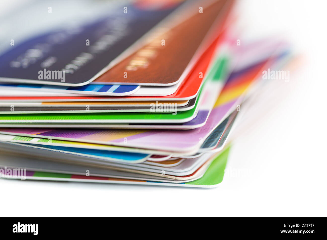 credit cards stack close up - Stock Image