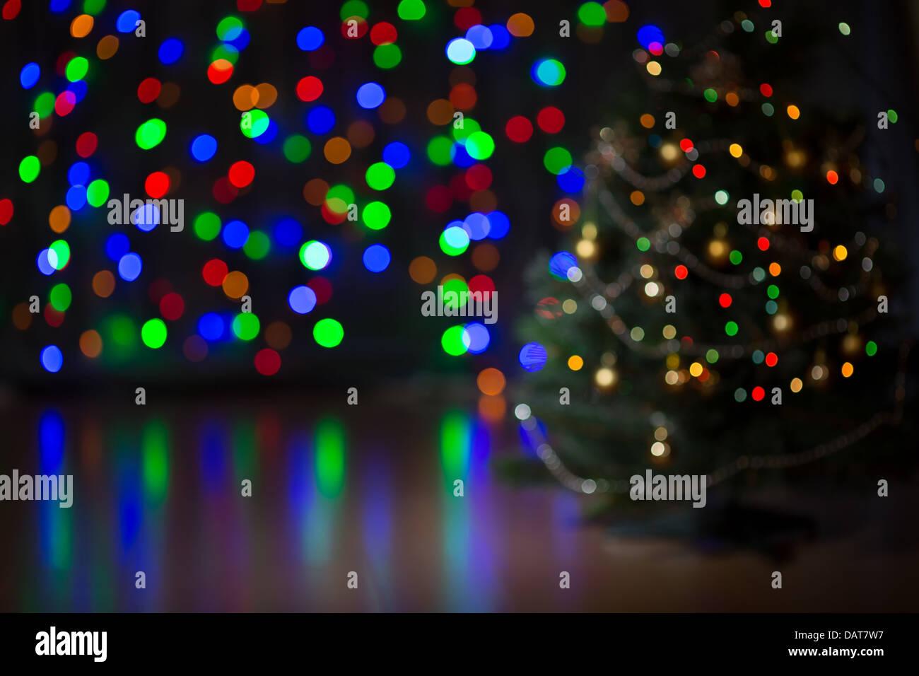 Christmas tree blurred background Stock Photo
