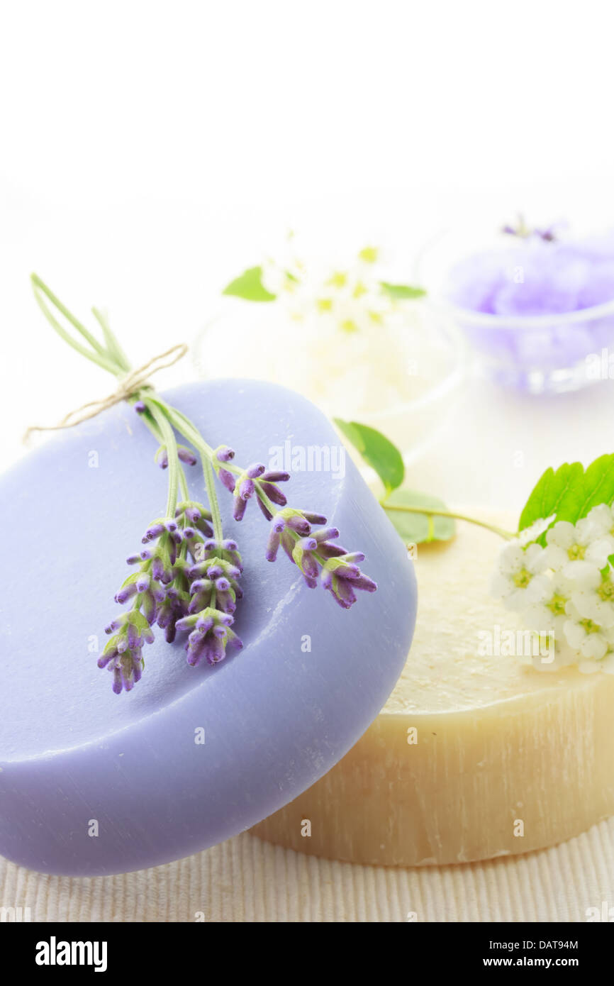 Handmade soap with fresh lavenders, white flowers and bath salt - Stock Image