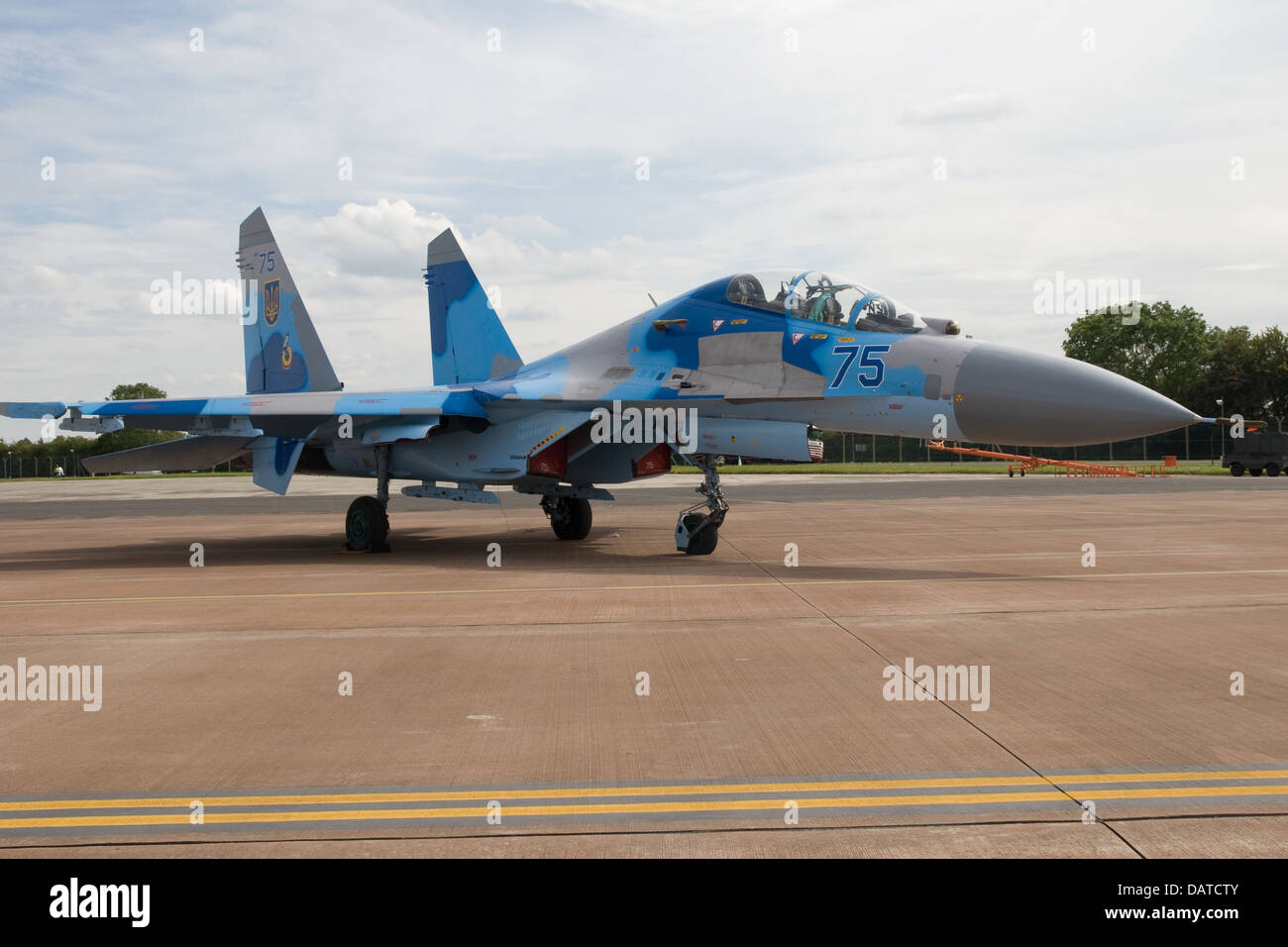 Ukrainian Air Force Sukhoi Fighter at Royal International Air Tattoo (RIAT) Fairford 2011 - Stock Image