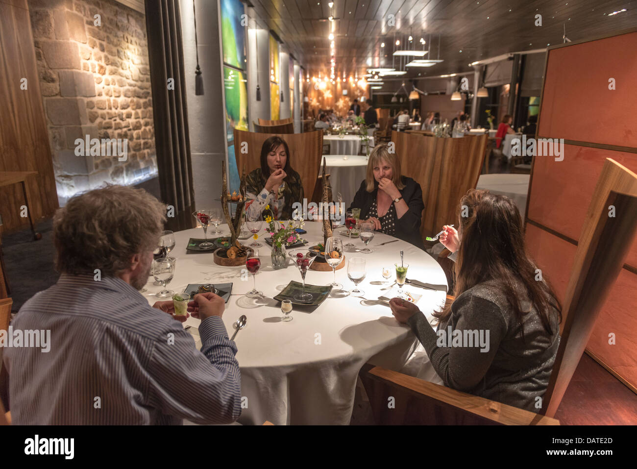Dinning at Régis and Jacques MARCON's Restaurant. One of Frances three Michelin star chefs. St Bonnet le Froid. - Stock Image