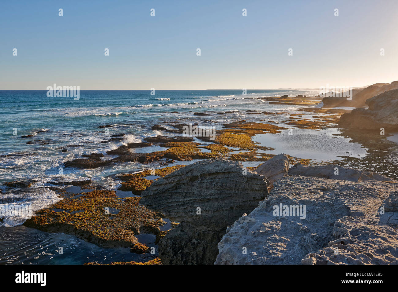 rocky beach in De Hoop Nature Reserve, Western Cape, South Africa - Stock Image
