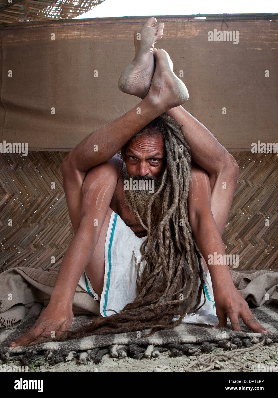 Portrait of a holy man/yogi  at the Kumbh Mela 2013 in Allahabad, India - Stock Image