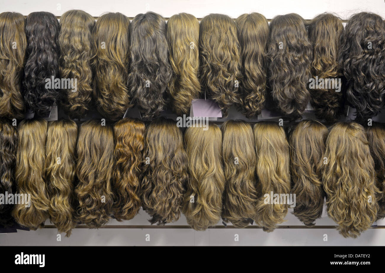 The showroom at Freeda Wigs a factory in Crown Heights Brooklyn, NY, frequented by religious Jewish women buying - Stock Image