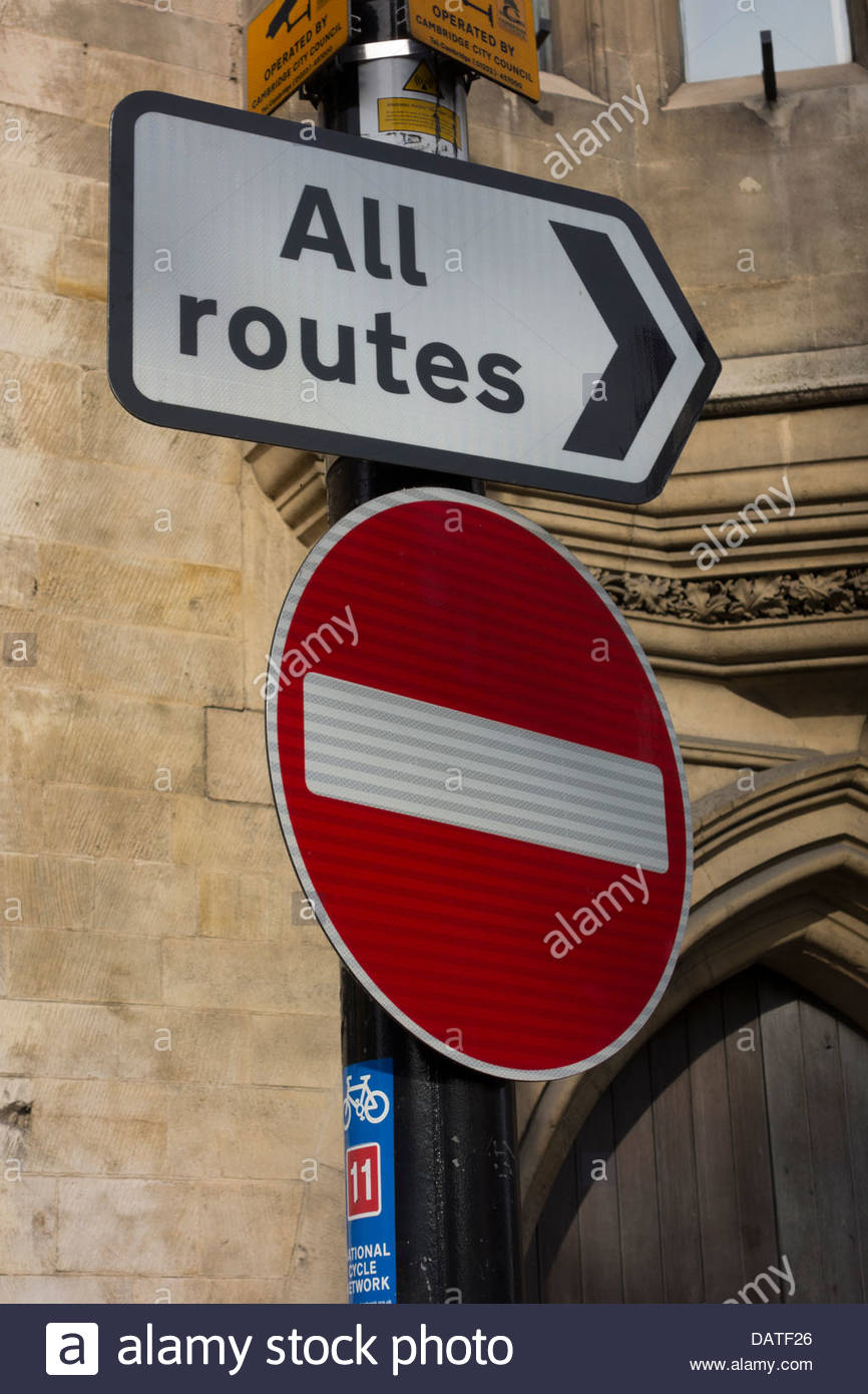 All routes and No Entry sign in Cambridge, England - Stock Image